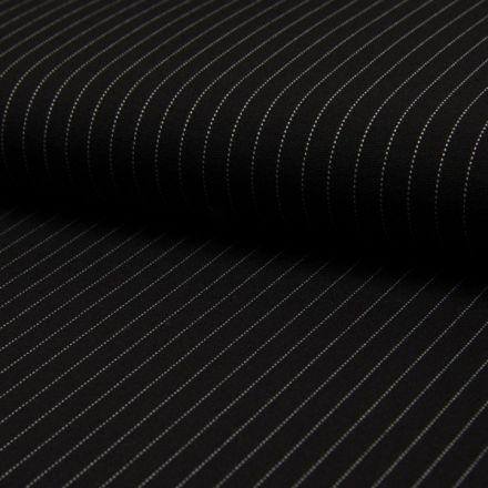Tissu Jersey Milano Rayures Blanches sur fond Noir - Par 10 cm