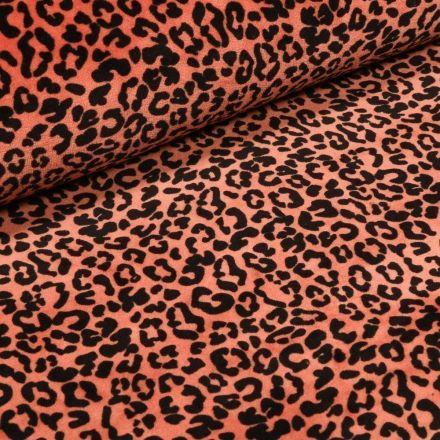 Tissu Jersey Velours Bio Motif léopard en relief sur fond Orange - Par 10 cm