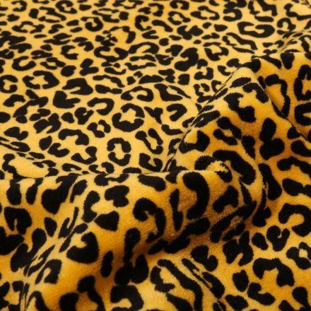 Tissu Jersey Velours Bio Motif léopard en relief sur fond Jaune - Par 10 cm