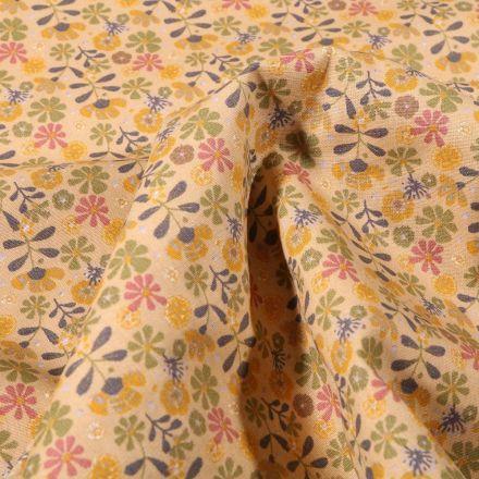 Tissu Coton imprimé Bio Myriam sur fond Jaune pastel - Par 10 cm