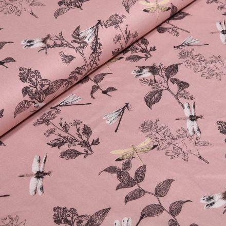 Tissu Coton imprimé Bio Feuilles et libellules sur fond Rose pâle - Par 10 cm