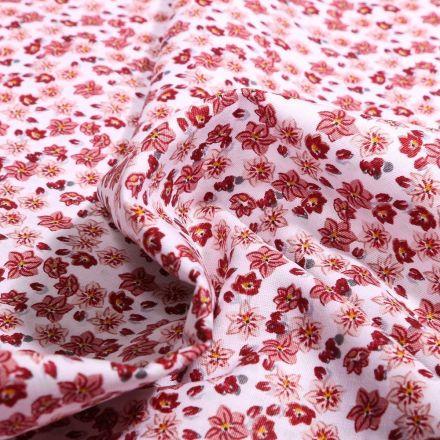 Tissu Coton imprimé Bio Olivia sur fond Blanc - Par 10 cm