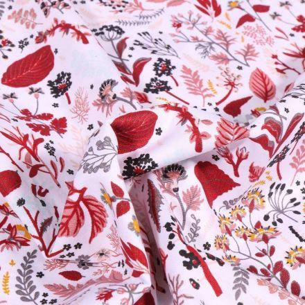 Tissu Coton imprimé Bio Hannah Rouge sur fond Blanc - Par 10 cm