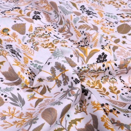 Tissu Coton imprimé Bio Hannah Taupe sur fond Blanc - Par 10 cm
