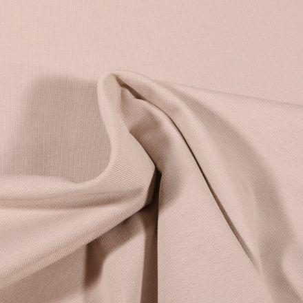 Tissu Jersey Coton Bio uni Beige clair - Par 10 cm