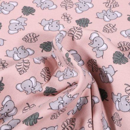 Tissu Jersey Coton Bio Eléphanteau et feuilles sur fond Rose - Par 10 cm
