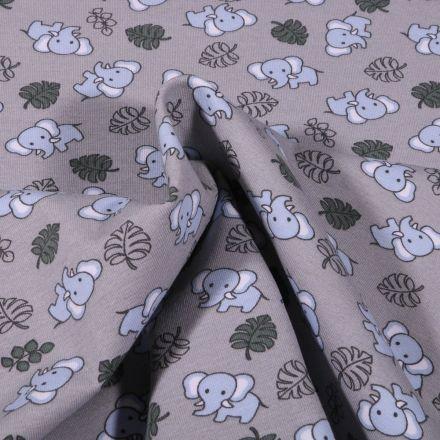 Tissu Jersey Coton Bio Eléphanteau et feuilles sur fond Gris - Par 10 cm