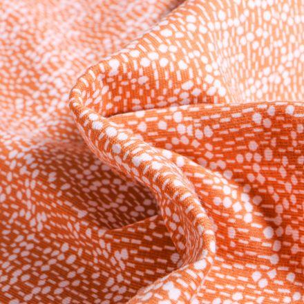 Tissu Jersey Coton Bio Pois et pointillés sur fond Orange