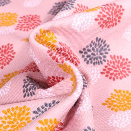 Tissu Jersey Coton Bio Oursins colorés sur fond Rose pâle