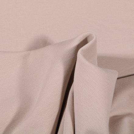 Tissu Jersey coton envers gratté Bio Uni  Beige - Par 10 cm