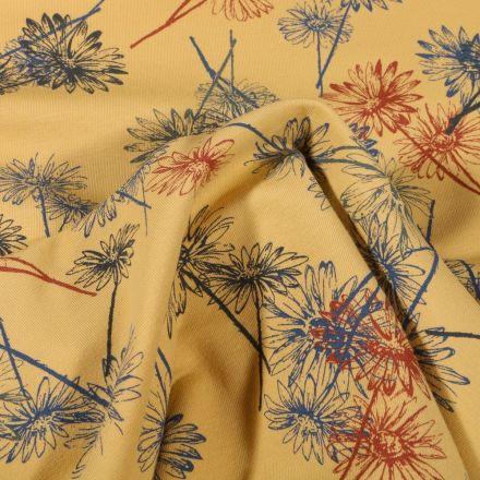 Tissu Jersey Coton Bio Marguerite sur fond Jaune - Par 10 cm