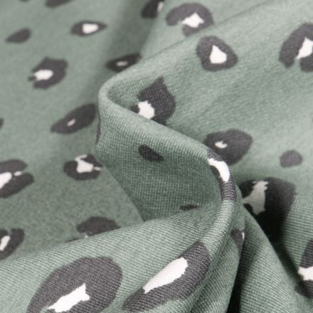 Tissu Jersey Coton Bio Tâche léopard sur fond Vert clair