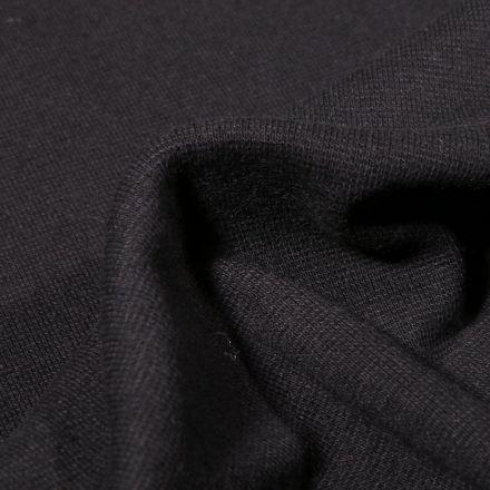Tissu Bord côte uni Bio Noir - Par 10 cm