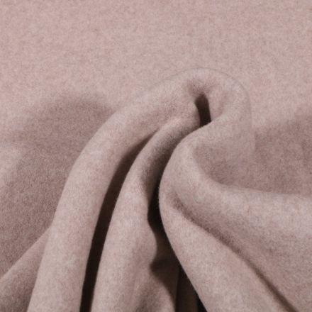 Tissu Polaire Coton Bio uni Beige chiné - Par 10 cm