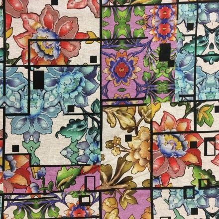 Tissu Jersey Gris Fleurs Multicolores - Par 10 cm