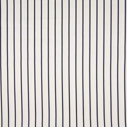 Tissu Coton satiné extensible Rayures Bleu Marine sur fond Blanc - Par 10 cm