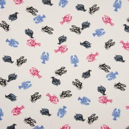 Tissu Crêpe imprimée Homards bleus, noirs et roses sur fond Blanc - Par 10 cm