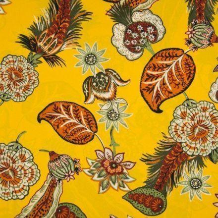 Tissu crêpe georgette  fleuris Fleurs multicolores sur fond Jaune - Par 10 cm