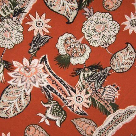 Tissu crêpe georgette  fleuris Fleurs multicolores sur fond Brique - Par 10 cm