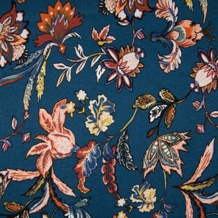 Tissu Jersey Viscose imprimé  Fleurs brique et saumon sur fond Bleu pétrole - Par 10 cm
