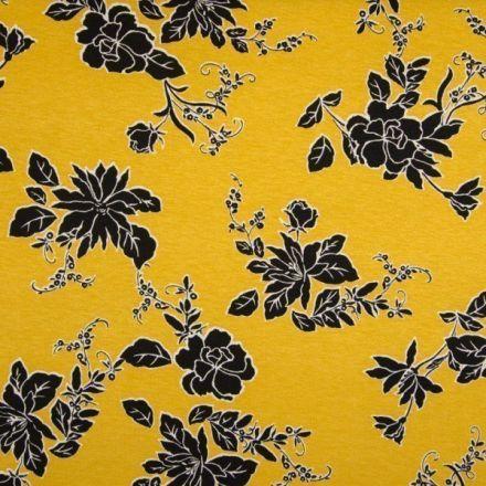 Tissu Jersey Viscose imprimé  Fleurs noires sur fond Jaune - Par 10 cm