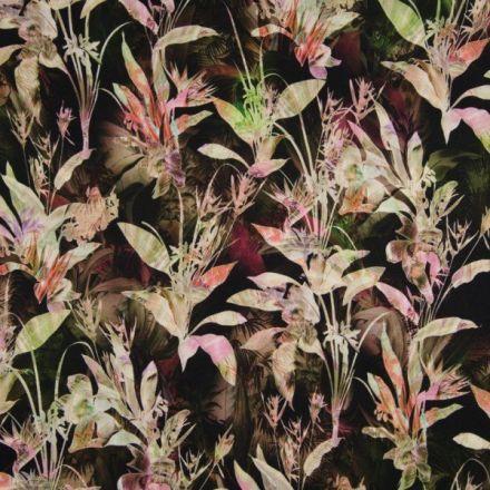 Tissu Cupro Feuilles Diverses Vertes et saumon sur fond Noir - Par 10 cm