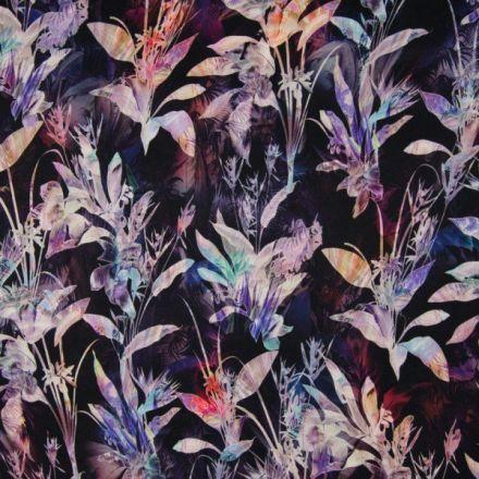 Tissu Cupro Feuilles Diverses violette et bleues sur fond Noir - Par 10 cm