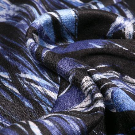 Tissu Jersey milano Motifs abstraits sur fond Bleu