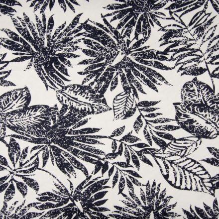Tissu Coton Satiné extensible  Feuillages bleus marine sur fond Blanc - Par 10 cm