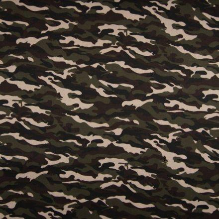 Tissu Coton satiné imprimé extensible camouflage marron sur fond Vert kaki foncé - Par 10 cm