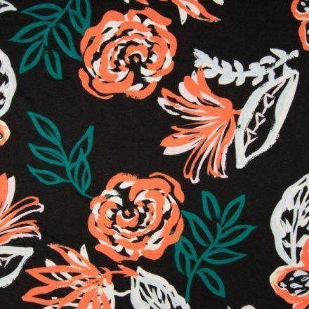 Tissu Jersey viscose imprimé Fleurs peintes grises,roses et orange sur fond Noir - Par 10 cm