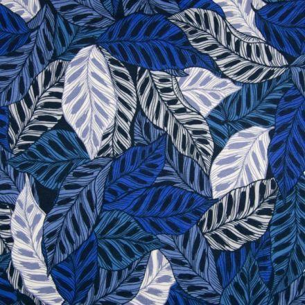 Tissu Jersey viscose imprimé Feuilles bleues sur fond Noir - Par 10 cm