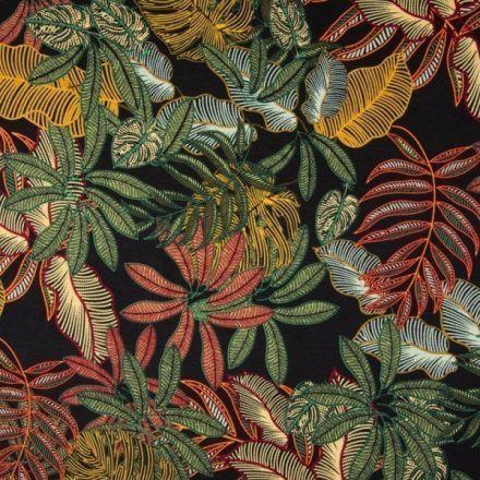 Tissu Jersey viscose imprimé  Feuillages exotiques jaunes, orange et verts sur fond Noir - Par 10 cm