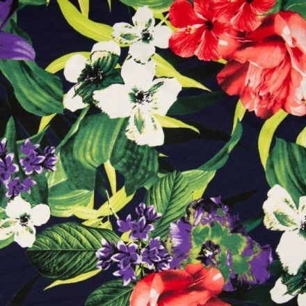 Tissu Jersey viscose imprimé Fleurs violettes, rouges et blanches sur fond Bleu marine - Par 10 cm