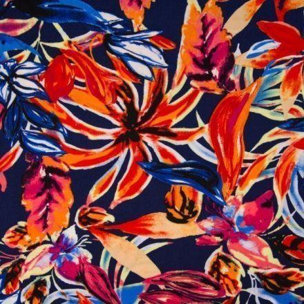Tissu Viscose Grandes fleurs estivales sur fond Bleu marine - Par 10 cm