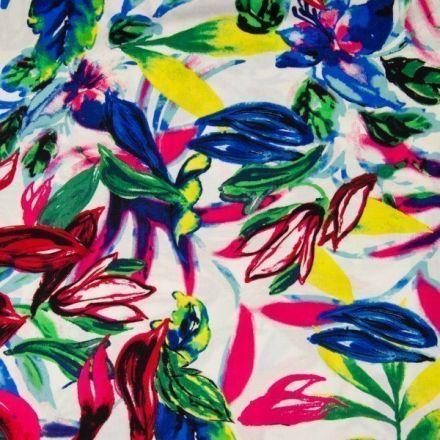 Tissu Viscose Grandes fleurs estivales sur fond Blanc - Par 10 cm