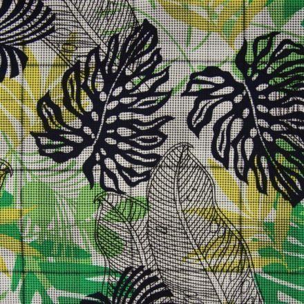 Tissu Viscose imprimé pied de poule Feuilles exotiques sur fond Blanc - Par 10 cm
