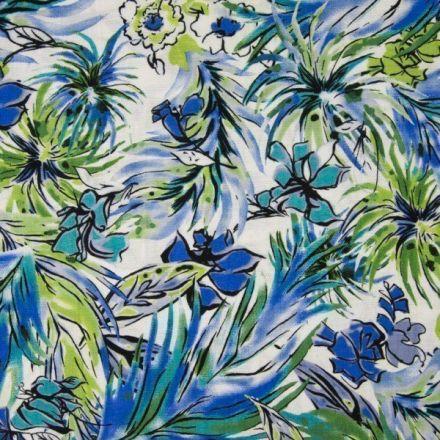 Tissu Viscose toucher crêpe Aquarelle fleuris bleue et verte sur fond Blanc - Par 10 cm