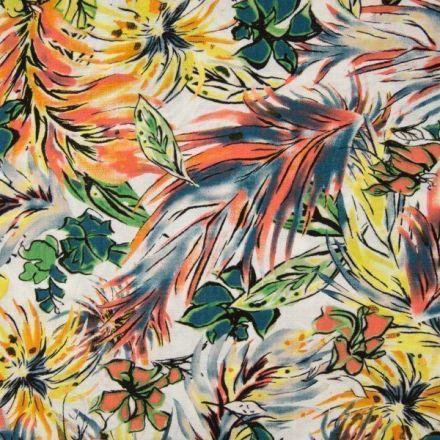Tissu Viscose toucher crêpe Aquarelle fleuris jaune et orange sur fond Blanc - Par 10 cm