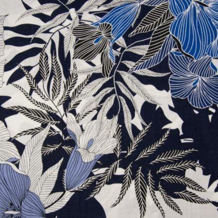 Tissu Viscose texturé Fleuris sur fond Bleu marine - Par 10 cm
