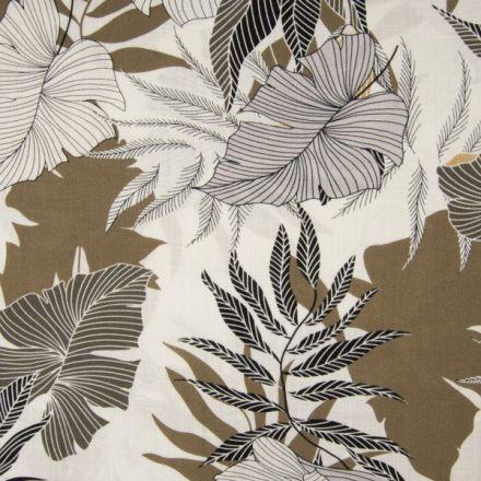 Tissu Viscose texturé Fleuris sur fond Taupe - Par 10 cm