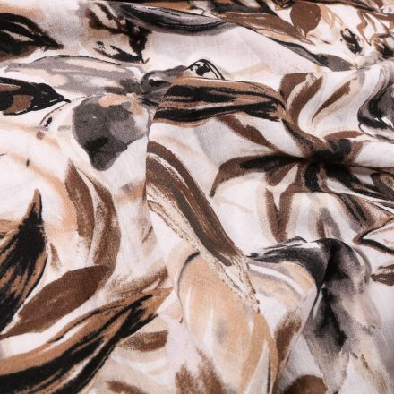 Tissu Viscose texturé Aquarelle de feuilles marron et beige sur fond Blanc - Par 10 cm