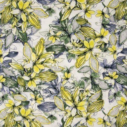 Tissu Viscose plumetis imprimé  Fleurs de lys jaunes, bleues et vertes sur fond Blanc - Par 10 cm