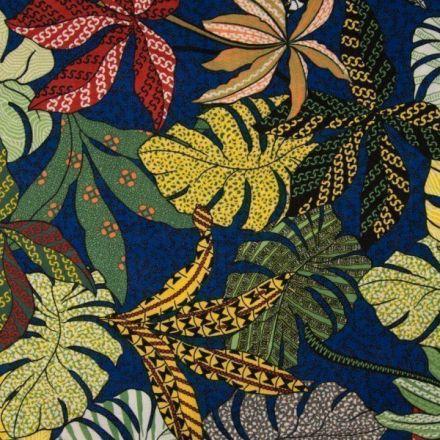 Tissu Viscose texturé Feuillages aborigènes sur fond Bleu roi - Par 10 cm