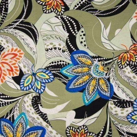 Tissu Viscose Fleurs multicolores et motifs abstraits noir et blanc sur fond Vert kaki clair - Par 10 cm