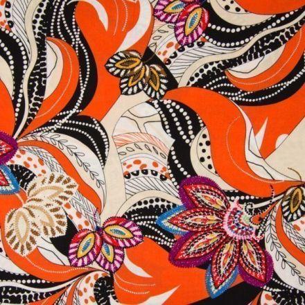 Tissu Viscose Fleurs multicolores et motifs abstraits noir et blanc sur fond Orange - Par 10 cm