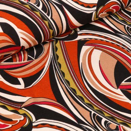 Tissu Jersey Viscose Motifs abstraits colorés sur fond Rouille