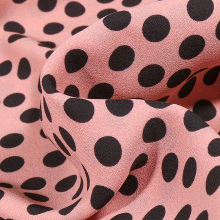 Tissu Crêpe Georgette Pois noirs sur fond Rose