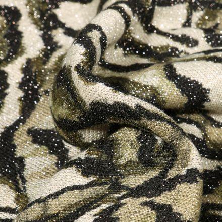 Tissu Maille lurex Feuilles vertes sur fond Blanc cassé