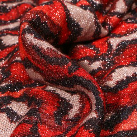 Tissu Maille lurex Feuilles rouges sur fond Beige